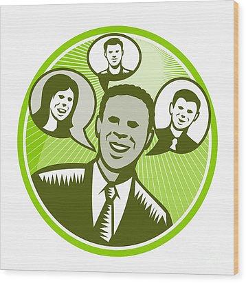 Businessman People Smiling Speech Bubble Wood Print by Aloysius Patrimonio
