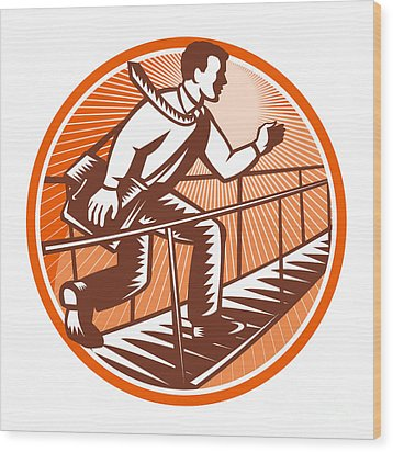 Businessman Satchel Bag Running Bridge Wood Print by Aloysius Patrimonio