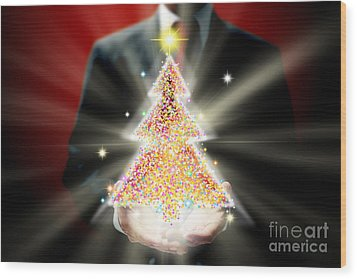 Businessman With Christmas Wood Print by Atiketta Sangasaeng