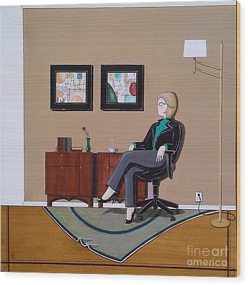 Businesswoman Sitting In Chair Wood Print by John Lyes