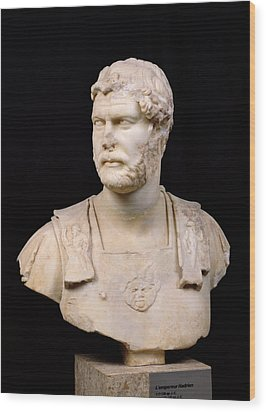 Bust Of Emperor Hadrian Wood Print by Anonymous