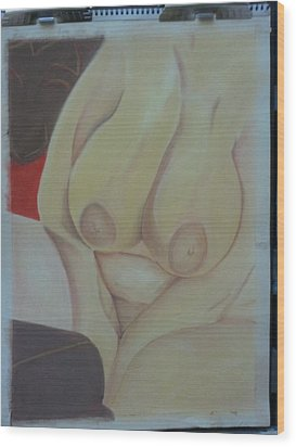 Busty Wood Print by Dro Hall