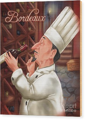 Busy Chef With Bordeaux Wood Print by Shari Warren
