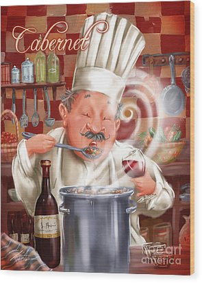 Busy Chef With Cabernet Wood Print by Shari Warren