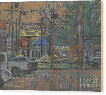 Wood Print featuring the painting Busy Day by Donald Maier