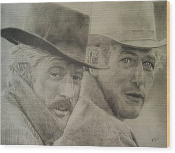 Butch Cassidy And The Sundance Kid Wood Print by Robbie Douglas