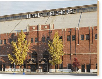 Butler Bulldogs Hinkle Fieldhouse In The Fall Wood Print by Replay Photos