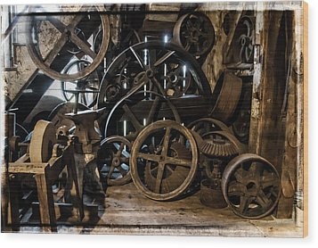 Butte Creek Mill Interior Scene Wood Print by Mick Anderson