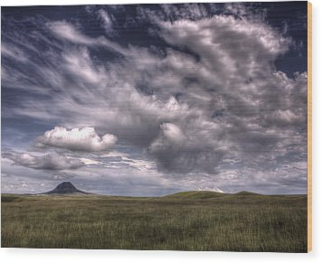 Butte In The Shadows Wood Print by Michele Richter