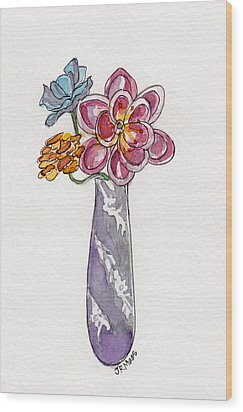Butter Knife Vase With Flowers Wood Print