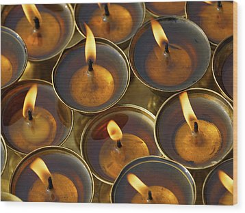 Butter Lamps Wood Print
