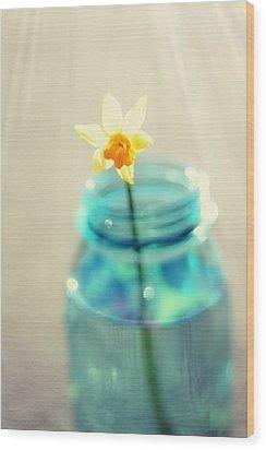 Buttercup Photography - Flower In A Mason Jar - Daffodil Photography - Aqua Blue Yellow Wall Art  Wood Print by Amy Tyler