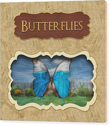 Butterflies Button Wood Print by Mike Savad
