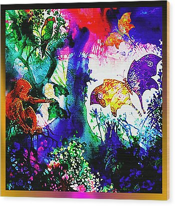 Wood Print featuring the mixed media Butterflies by Hartmut Jager