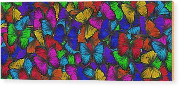 Wood Print featuring the photograph Butterflies In Flight Panorama by Kyle Hanson