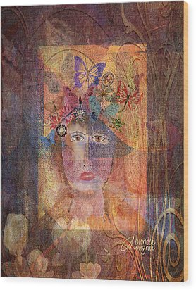 Wood Print featuring the digital art Butterflies In Her Hair by Arline Wagner