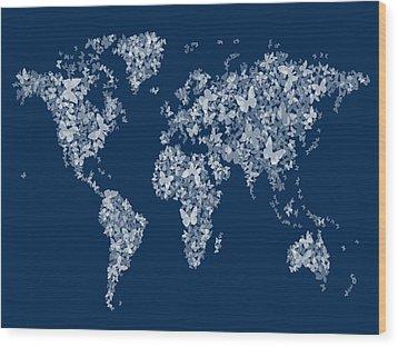 Butterflies Map Of The World Map Wood Print by Michael Tompsett