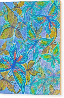 Wood Print featuring the mixed media Butterflies On Blue by Teresa Ascone
