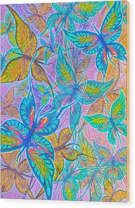 Wood Print featuring the mixed media Butterflies On Lilac by Teresa Ascone