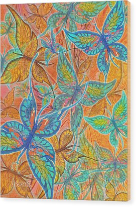 Wood Print featuring the painting Butterflies On Tangerine by Teresa Ascone