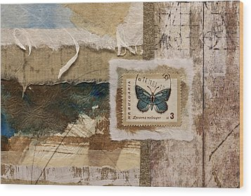Butterfly And Blue Collage Wood Print by Carol Leigh
