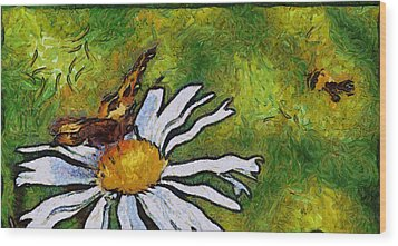 Wood Print featuring the painting Butterfly And Flower by Georgi Dimitrov