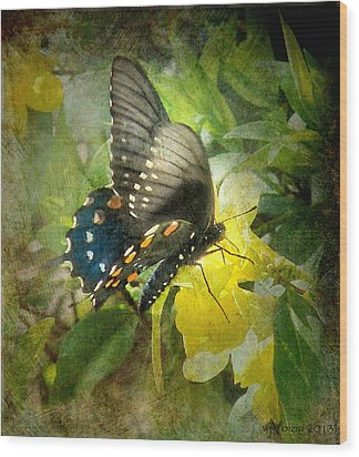 Butterfly And Jasmine Wood Print by Bill Voizin