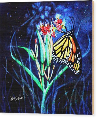 Butterfly At Work Wood Print by Ruth Bodycott