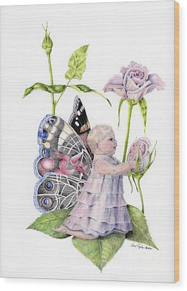 Wood Print featuring the drawing Butterfly Baby by Laurianna Taylor