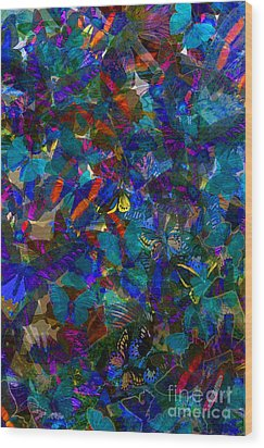 Wood Print featuring the photograph Butterfly Collage Blue by Robert Meanor