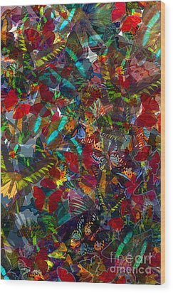 Wood Print featuring the photograph Butterfly Collage Red by Robert Meanor