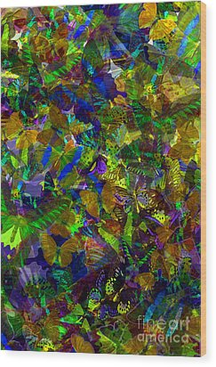 Wood Print featuring the photograph Butterfly Collage Yellow by Robert Meanor