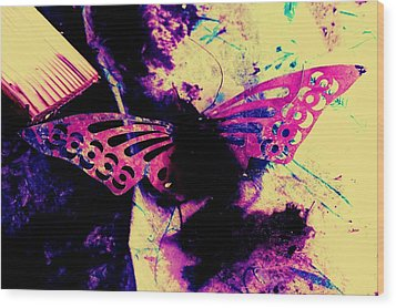 Wood Print featuring the photograph Butterfly Disintegration  by Jessica Shelton