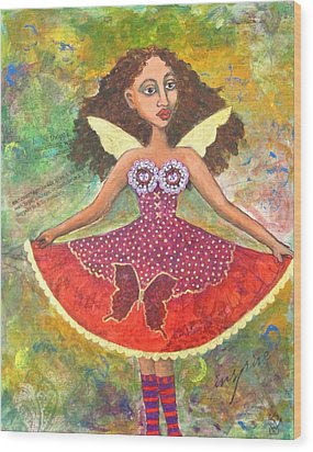 Butterfly Dress Wood Print by Sharon Woodward