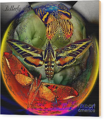 Butterfly Effect Blue Planet Wood Print by Joseph Mosley
