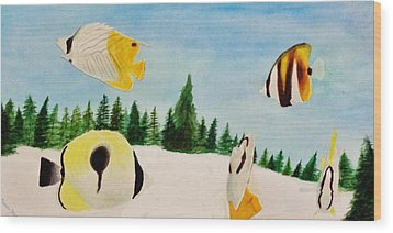 Butterfly Fish Wood Print by Savanna Paine