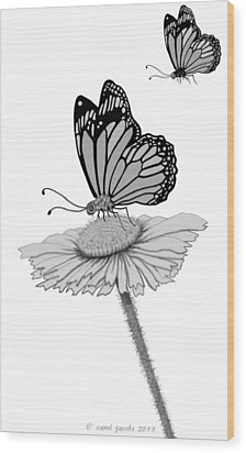 Wood Print featuring the digital art Butterfly Friends by Carol Jacobs