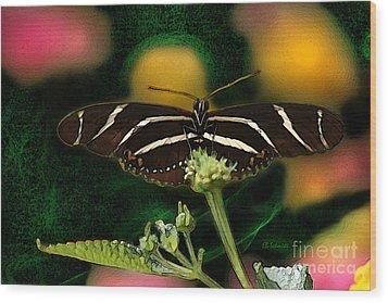 Wood Print featuring the digital art Butterfly Garden 06 - Zebra Heliconian by E B Schmidt