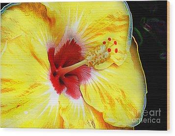 Wood Print featuring the digital art Butterfly Garden 07 - Hibiscus by E B Schmidt