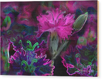 Wood Print featuring the digital art Butterfly Garden 08 - Carnations by E B Schmidt