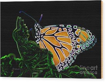 Wood Print featuring the digital art Butterfly Garden 12 - Monarch by E B Schmidt