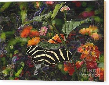 Wood Print featuring the digital art Butterfly Garden 14 - Zebra Heliconian by E B Schmidt
