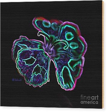 Wood Print featuring the digital art Butterfly Garden 18 - Carnation by E B Schmidt