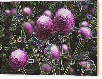Wood Print featuring the digital art Butterfly Garden 20 - Globe Amaranth by E B Schmidt
