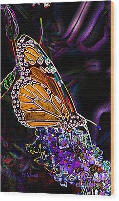 Wood Print featuring the digital art Butterfly Garden 24 - Monarch by E B Schmidt