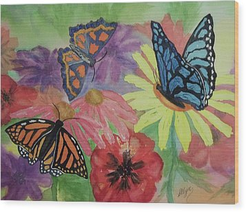 Wood Print featuring the painting Butterfly Garden by Ellen Levinson