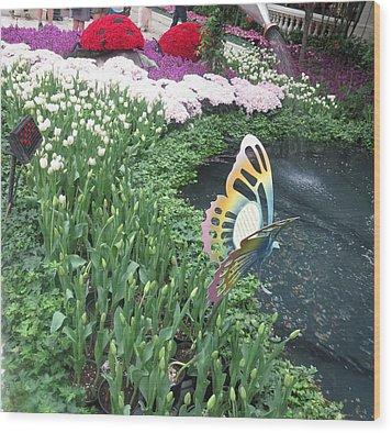 Butterfly Garden Ladybug Flowers Green Theme Wood Print by Navin Joshi