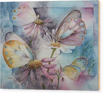 Butterfly Garden Wood Print by Patsy Sharpe
