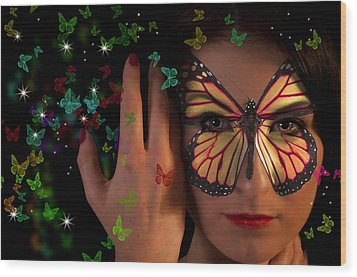 Butterfly Girl Wood Print by Nathan Wright