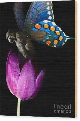 Butterfly-gorilla Wood Print by Soumya Bouchachi